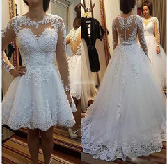 High Quality Lace Wedding Dresses Long Sleeve Removable Trail Wedding Gown Bridal Dress Gown 2 white