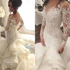 Fashion Mermaid Wedding Dresses Arm Lace Wedding Gown 2019 Africa Newest Lace Bride Dresses 2 white