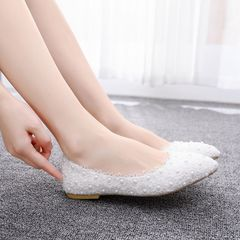 1 Pairs Luxury Pearls Flower Wedding Shoes High Quality Bridal Shoes Women Shoes white 34