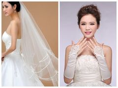 Wedding Veils Fashion Romantic Bridal Veil White Lace Gloves Wedding Accessories one size white