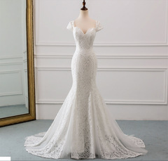 Hot Selling Mermaid Wedding Dresses Sexy Off Shoulder Bride Dresses Lace Bridal Gown 2 white