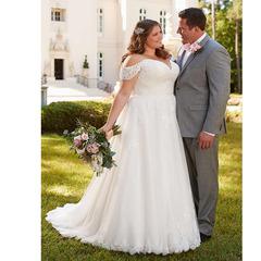 Plus Size Wedding Bridal Dresses Lace Wedding Dresses Lace Sexy Off Shoulder Bride Dresses Gown 2 white