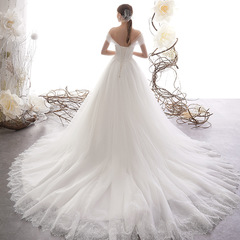 Hot Selling Sexy Off Shoulder Lace Wedding Dresses Fashion Big Trail Bride Dresses Lace Bridal Gown 2 style 1