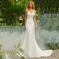 Hot Selling Lace Wedding Dresses Fashion Mermaid Bride Dresses Lace Bridal Gown 2 style 1