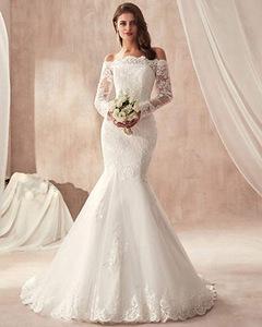 Hot Selling Mermaid Wedding Dresses Fashion Lace Bride Dresses Fishtail Bridal Gown 2 white