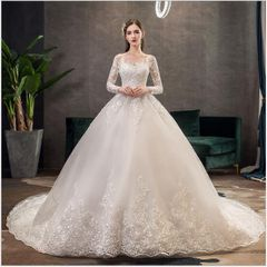 2020 New Style Lace Wedding Dress Fashion Bride Dresses Gown High Quality Big Trail Wedding Gown 3xl picture color