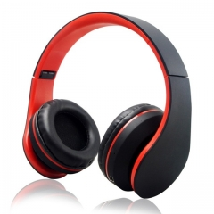 HiFi Deep Bass Wireless Stereo Bluetooth Headphone Noise Cancelling Headset With Mic, Earphone red