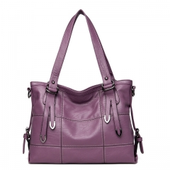 2018  Ladies Hand Bag Women's Genuine Leather Handbag Leather Casual Tote Bag Female Shoulder Bag purple 35x13x25