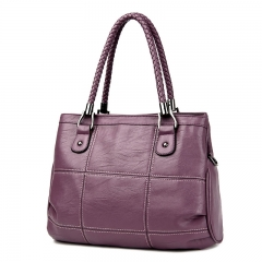 2018 New Fashion Ladies Hand Bag Women's Genuine Leather Handbag Leather Tote Bag Female purple 35x13x24