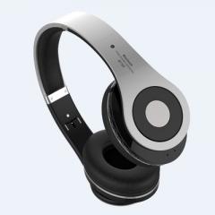 HiFi Deep Bass Wireless Stereo Bluetooth Headphone Noise Cancelling Headset With Mic, Earphone silver