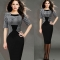 Women's New Fashion Sexy Dress Middle-sleeved Houndstooth Stitching Slim Fitting Pencil Skirt Dress Picture color S