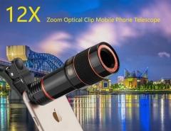 Universal Clip 12X Zoom Mobile Phone Telescope Lens Telephoto External Smartphone Camera Lens Black
