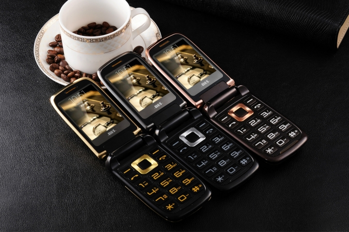 Newmind V998 Fashion Flip phone Double Screen Touch Feature Business Phone Gold