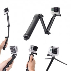 Folding three-way adjustable arm selfie stick GoPro accessories sports camera stand 3-way black 22-62cm