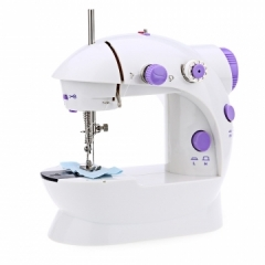 Mini Hand Foot Pedal sewing machines Dual Speed Portable Electric Sewing Machine Overlock AC100-240V white