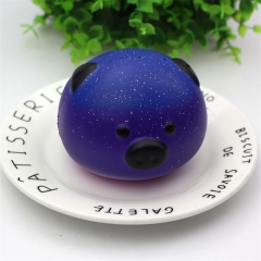 Simulation slow rebound squishy starry pig head decompression toy purple 8cm×6cm