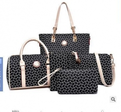 New women's mother bag six-piece female bones in Europe and America shoulder Messenger bag black Six-piece set