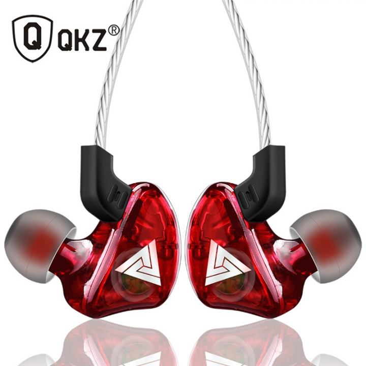 QKZ CK5 New Sports Ear-on Earphones Transparent Heavy Bass Mobile Music Headphones Red