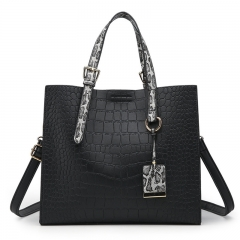 New Handbag Women's Bag Fashion Crocodile Pattern Shoulder Messenger Bag Black 29 * 25 * 12cm