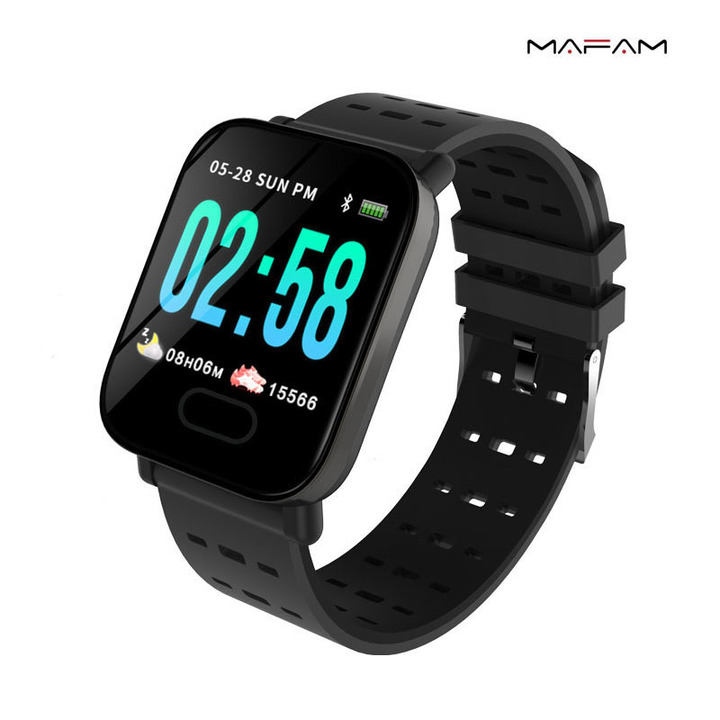 Color Screen Smart Bracelet Real-time Heart Rate Blood Pressure Sleep Monitoring Waterproof Running Black 1.3 inches