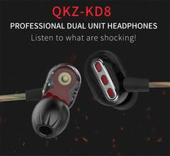 QKZ KD8 Double Moving Ring Four Unit Ring Iron HIFI Subwoofer Sports Monitor Headphones