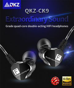 QKZ CK9 Double Dynamic Headphones Subwoofer Headphones HiFi Call Headphones Sports Headphones blue