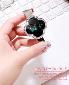 Fashion Women Bluetooth Waterproof Smart Watch Heart Rate Blood Pressure Diamond Cut Crystal Watch silver 260 * 37 * 8mm