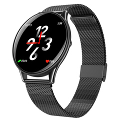 Fashion Smart Watch Bluetooth Waterproof  Wrist Watch HR Monitor Sport Fitness Metal Stainless Steel knight black xl