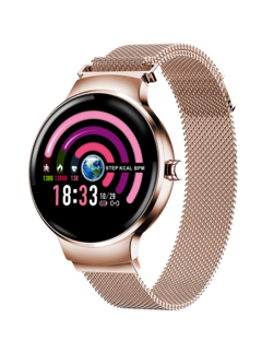 Women's Smart watch Bluetooth Waterproof  Wristband HR BP Monitoring Fitness Smart Health Bracelet purplerose gold xl