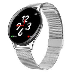 Fashion Smart Watch Bluetooth Waterproof  Wrist Watch HR Monitor Sport Fitness Metal Stainless Steel moonlight silver xl