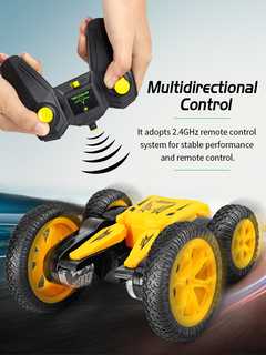 Double Sided Off Road Driving Remote Control Car Transforming Toy red Q71 Remote