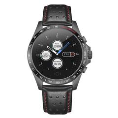 Smartwatch Bluetooth Waterproof Leather Strap HR BP Monitoring Fitness Smart Health Bracelet knight black xl