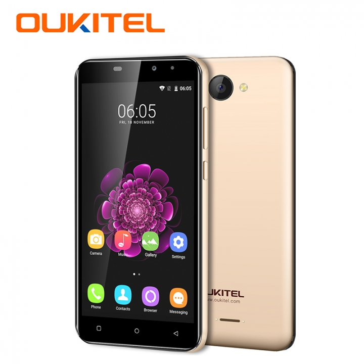 "OUKITEL C9, 1+8GB, 2000mAh Big Battery,MT6580A, 5.0""HD, 8+2MP,  3G LTE, Smart phone gold"