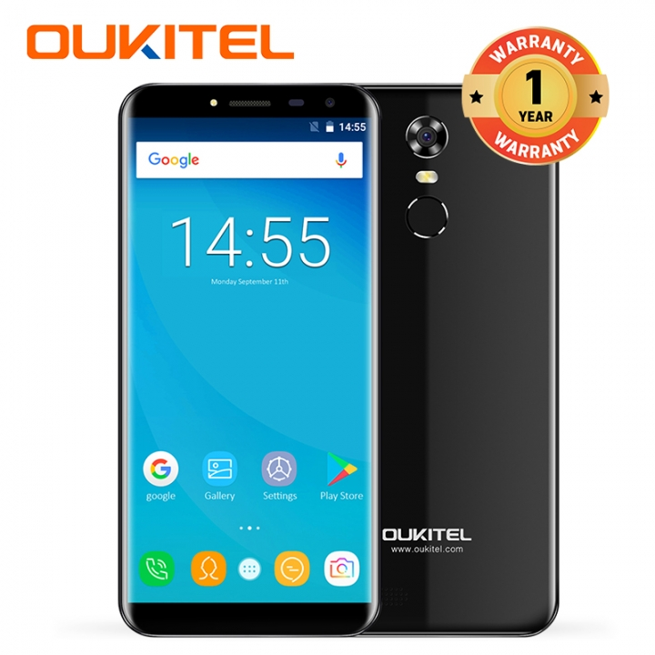 "OUKITEL C8, 2+16GB, 3000mAh, Fingerprint, 5.5""HD,13+5MP, 18:9 Aspect Ratio, 3G LTE, Smart phone black"