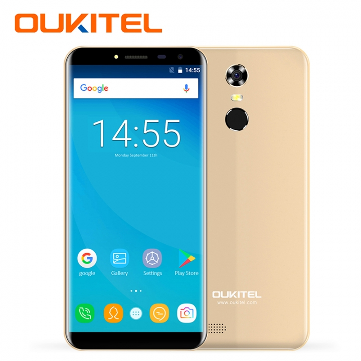 "OUKITEL C8, 2+16GB, 3000mAh, Fingerprint, 5.5""HD,13+5MP, 18:9 Aspect Ratio, 3G LTE, Smart phone gold"