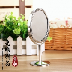 Metal mirror cosmetic mirror desktop revolving small mirro 1:2 expanded function silvery