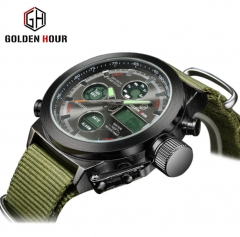 Brand fashionable outdoor multifunctional electronic watch Hipster canvas watch men's watches silver shell