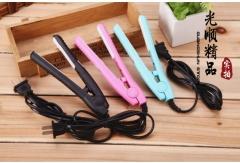 Mini ceramic hair straightener Portable electronic splint Ion perm Bang clipper straight plate black 21.5*6*4