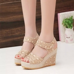 2018 sandals wedge heels lady summer shoes women slippers Beige 35
