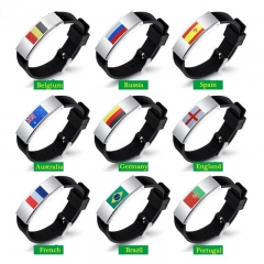 2018 New World Cup Fashion Country Flag Men Bracelet Titanium Steel Silicone Football Wristband Gift Portugal one size