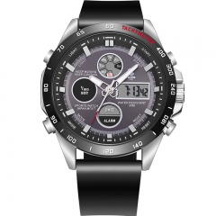 Bluetooth Smartwatch wearable Quartz PU Waterproof Digital Dual Display Smart Watch Android IOS black one size