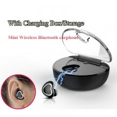 New Mini Headset Wireless Smart Bluetooth Music earphone 3D Stereo Charging Box/Storage for Phone White