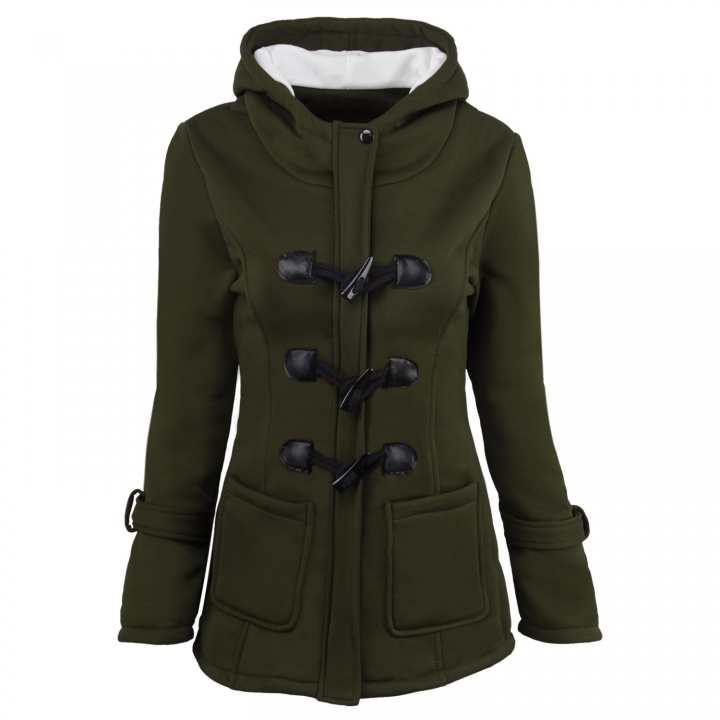 New Autumn Winter Women Thick Coat Horn Button Slim Ladies Causal Jacket Medium Style Hooded Wool Green S