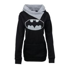 Women's Fashion Printing Warm T-shirt Turtlenecks Hooded Fleece Long Sleeve Lady Girl's  Sweat Shirt black s