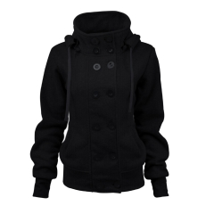 Women's Removable Hooded Fleece Classic Double Row Buttons Long Sleeve Slim Warm Lady Girl's Coat black s
