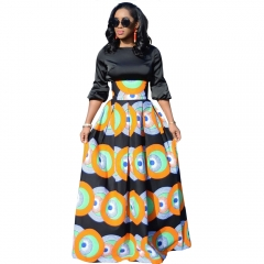 2018 New Women's  Waist Long Skirts Geometric Printed Lady's Girl's  OL Casual Fashion Skirt S-L Orange S