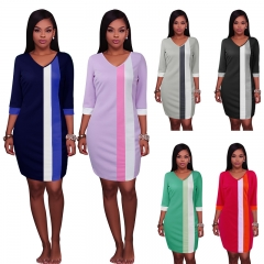 New Women's Contrast Color Dress Long Sleeve Slim Casual Office Lady Girl's Fashion Dresses S-XXL s red