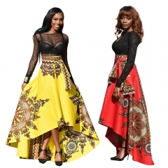 New Women's Fashion Printed Long Skirt Vintage National Umbrella Lady's Girl's Formal Dress S-XL Red s