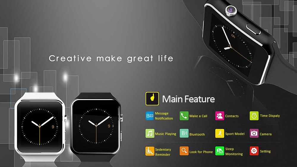 X6 Bluetooth Smartwatch Wearable  Sport Smart Watches Camera FM Call Phone Support SIM Card Android black one size 1
