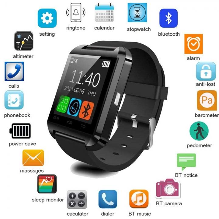 U8 Smart Watch Bluetooth Touchscreen Wristwatch Camera Waterproof Sports Fitness Tracker iOS Android white one size